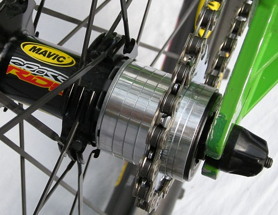 cassette hub converted to SS with spacers and single cog